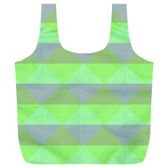 Squares Triangel Green Yellow Blue Full Print Recycle Bags (L)
