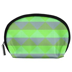 Squares Triangel Green Yellow Blue Accessory Pouches (Large)