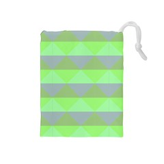 Squares Triangel Green Yellow Blue Drawstring Pouches (Medium)