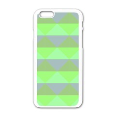 Squares Triangel Green Yellow Blue Apple iPhone 6/6S White Enamel Case