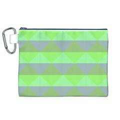 Squares Triangel Green Yellow Blue Canvas Cosmetic Bag (XL)