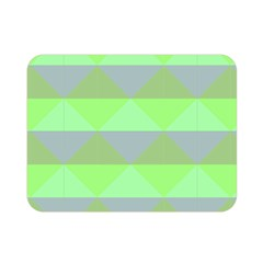 Squares Triangel Green Yellow Blue Double Sided Flano Blanket (Mini)