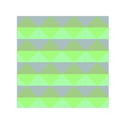 Squares Triangel Green Yellow Blue Small Satin Scarf (Square)