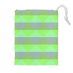 Squares Triangel Green Yellow Blue Drawstring Pouches (Extra Large)