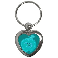 Xray Worms Fruit Apples Blue Key Chains (Heart)