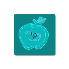 Xray Worms Fruit Apples Blue Square Magnet