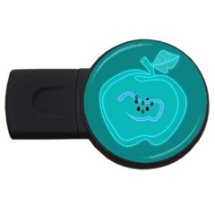 Xray Worms Fruit Apples Blue USB Flash Drive Round (2 GB)
