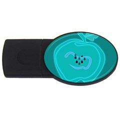 Xray Worms Fruit Apples Blue USB Flash Drive Oval (1 GB)