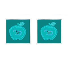 Xray Worms Fruit Apples Blue Cufflinks (Square)