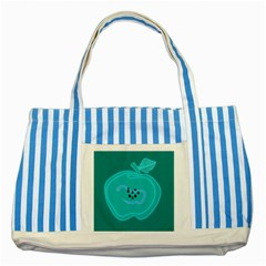 Xray Worms Fruit Apples Blue Striped Blue Tote Bag