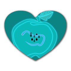 Xray Worms Fruit Apples Blue Heart Mousepads