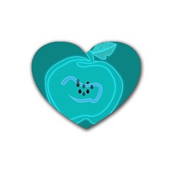Xray Worms Fruit Apples Blue Rubber Coaster (Heart)
