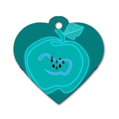 Xray Worms Fruit Apples Blue Dog Tag Heart (One Side)