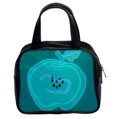 Xray Worms Fruit Apples Blue Classic Handbags (2 Sides)