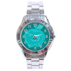Xray Worms Fruit Apples Blue Stainless Steel Analogue Watch