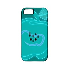 Xray Worms Fruit Apples Blue Apple iPhone 5 Classic Hardshell Case (PC+Silicone)