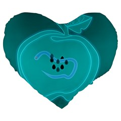Xray Worms Fruit Apples Blue Large 19  Premium Heart Shape Cushions