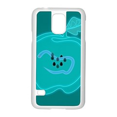 Xray Worms Fruit Apples Blue Samsung Galaxy S5 Case (White)