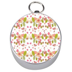 Floral pattern Silver Compasses