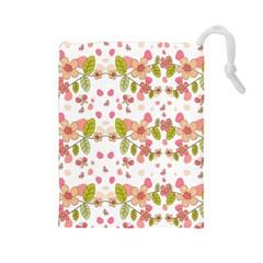 Floral pattern Drawstring Pouches (Large)