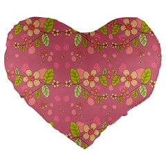 Floral pattern Large 19  Premium Heart Shape Cushions