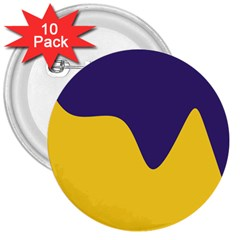 Purple Yellow Wave 3  Buttons (10 pack)