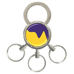 Purple Yellow Wave 3-Ring Key Chains