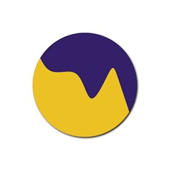 Purple Yellow Wave Rubber Round Coaster (4 pack)