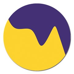 Purple Yellow Wave Magnet 5  (Round)