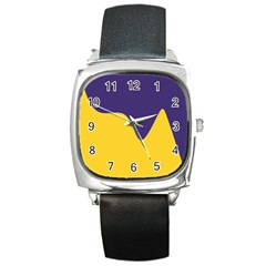 Purple Yellow Wave Square Metal Watch
