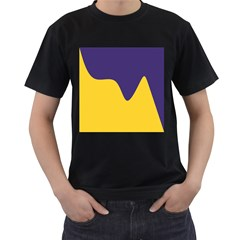 Purple Yellow Wave Men s T-Shirt (Black) (Two Sided)