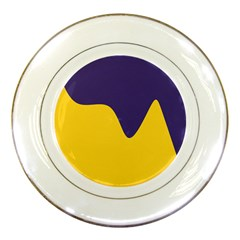 Purple Yellow Wave Porcelain Plates