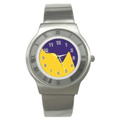 Purple Yellow Wave Stainless Steel Watch