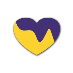 Purple Yellow Wave Rubber Coaster (Heart)