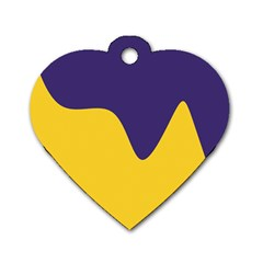 Purple Yellow Wave Dog Tag Heart (Two Sides)
