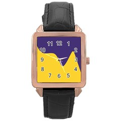 Purple Yellow Wave Rose Gold Leather Watch
