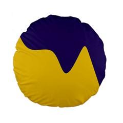 Purple Yellow Wave Standard 15  Premium Flano Round Cushions