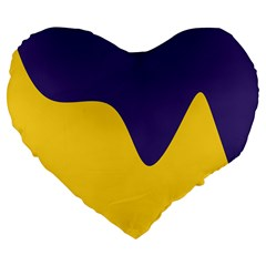 Purple Yellow Wave Large 19  Premium Flano Heart Shape Cushions