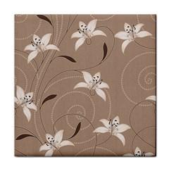 Star Flower Floral Grey Leaf Tile Coasters