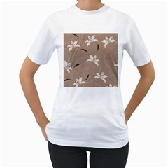Star Flower Floral Grey Leaf Women s T-Shirt (White) (Two Sided)