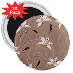 Star Flower Floral Grey Leaf 3  Magnets (10 pack)