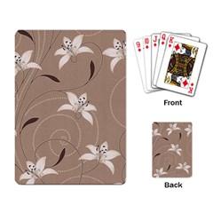 Star Flower Floral Grey Leaf Playing Card