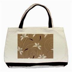 Star Flower Floral Grey Leaf Basic Tote Bag