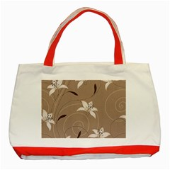 Star Flower Floral Grey Leaf Classic Tote Bag (Red)