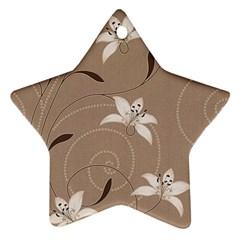 Star Flower Floral Grey Leaf Star Ornament (Two Sides)