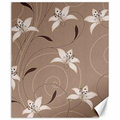 Star Flower Floral Grey Leaf Canvas 8  x 10