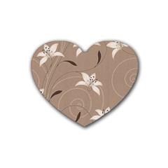 Star Flower Floral Grey Leaf Heart Coaster (4 Pack)