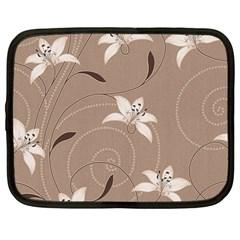 Star Flower Floral Grey Leaf Netbook Case (Large)