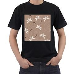 Star Flower Floral Grey Leaf Men s T-Shirt (Black)