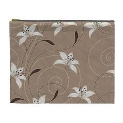 Star Flower Floral Grey Leaf Cosmetic Bag (XL)